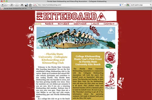Florida State University Kiteboarding Website